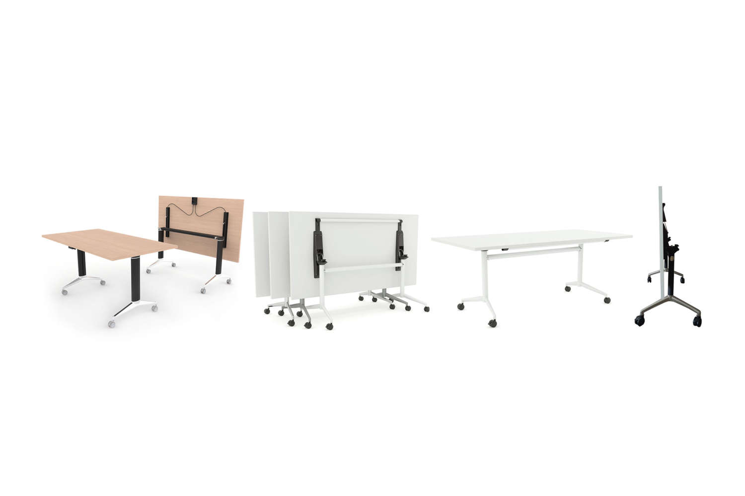 Foldable and wheeled office desks for easy transport