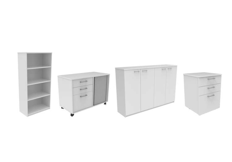 White commercial office cabinets and office storage products