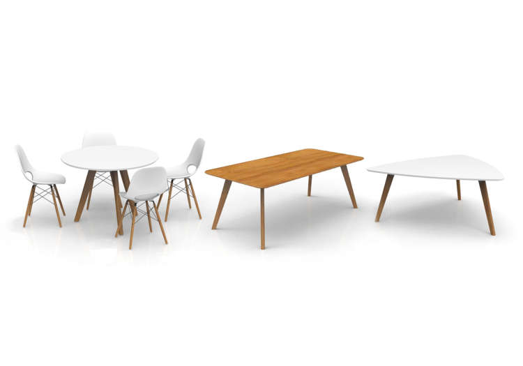 Natural wood office tables and office chairs by Oslo