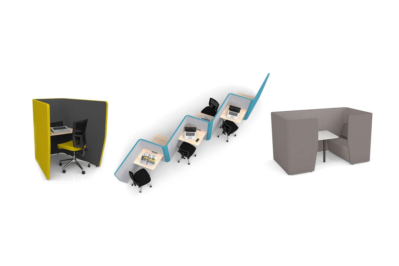 Modern Indoor office work pods in colour varieties