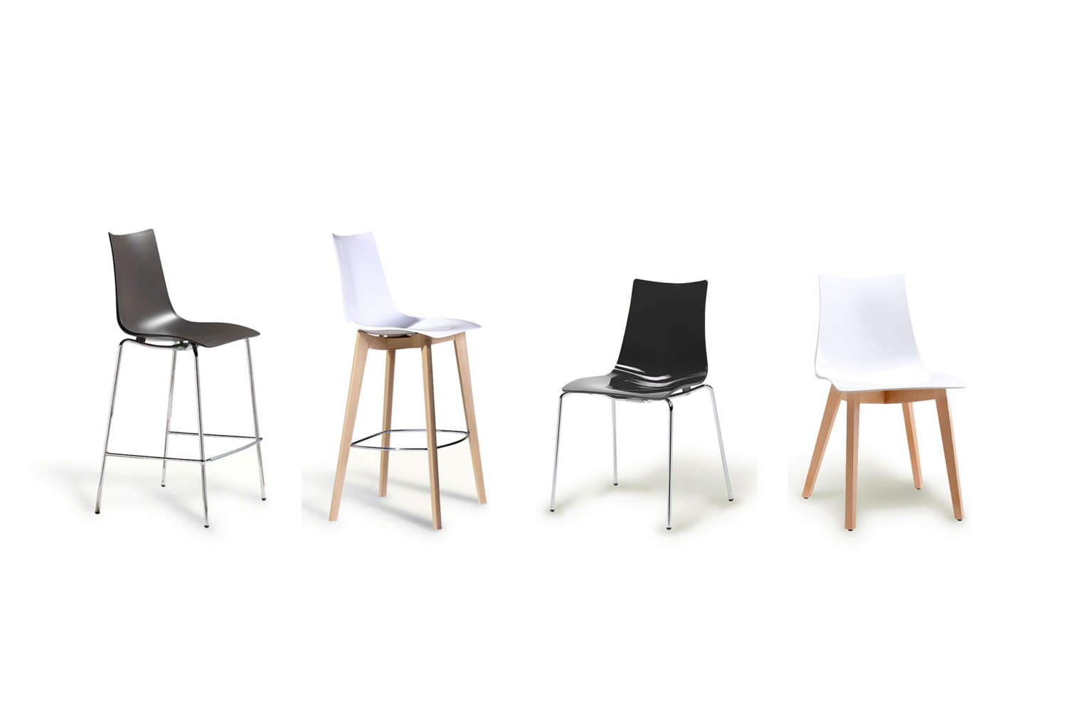 Black & White commercial plastic chairs and plastic stools