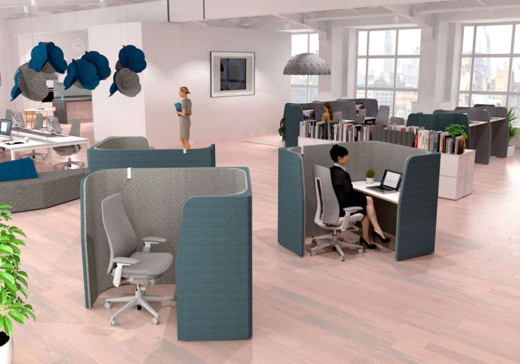 Modern workspace furniture including acoustic pods