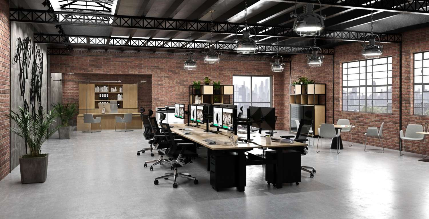 Commercial office interior with office workstation