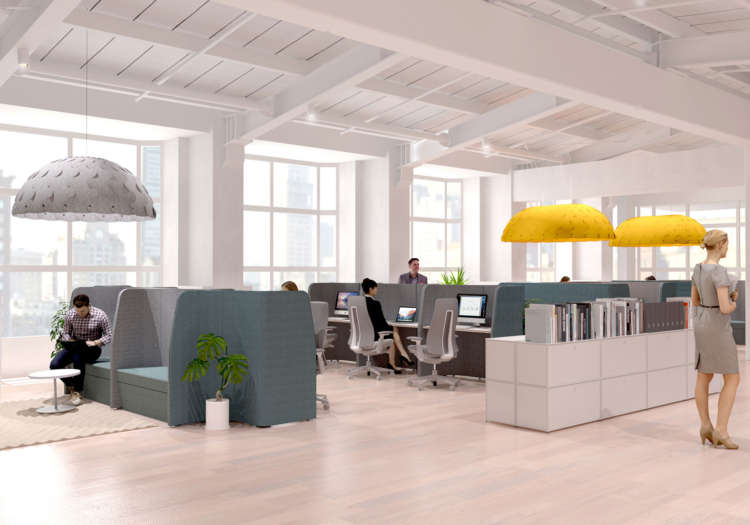 Collaborate workstations and acoustic pods by PLN Group