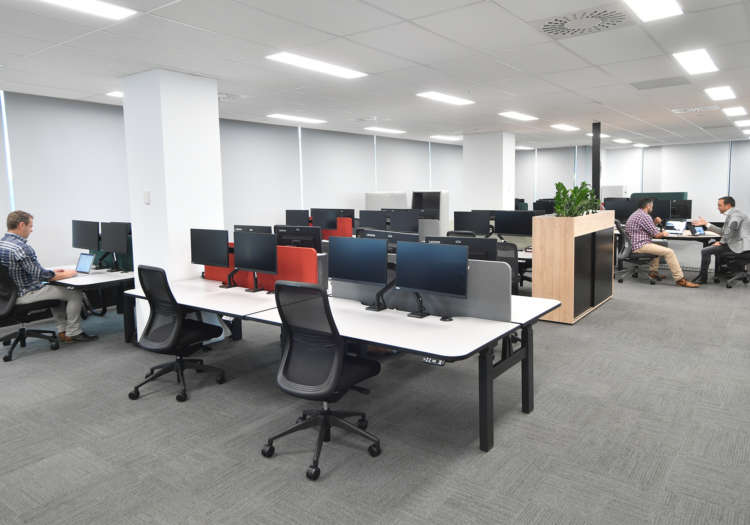 Workspace office and chairs in commercial office setting